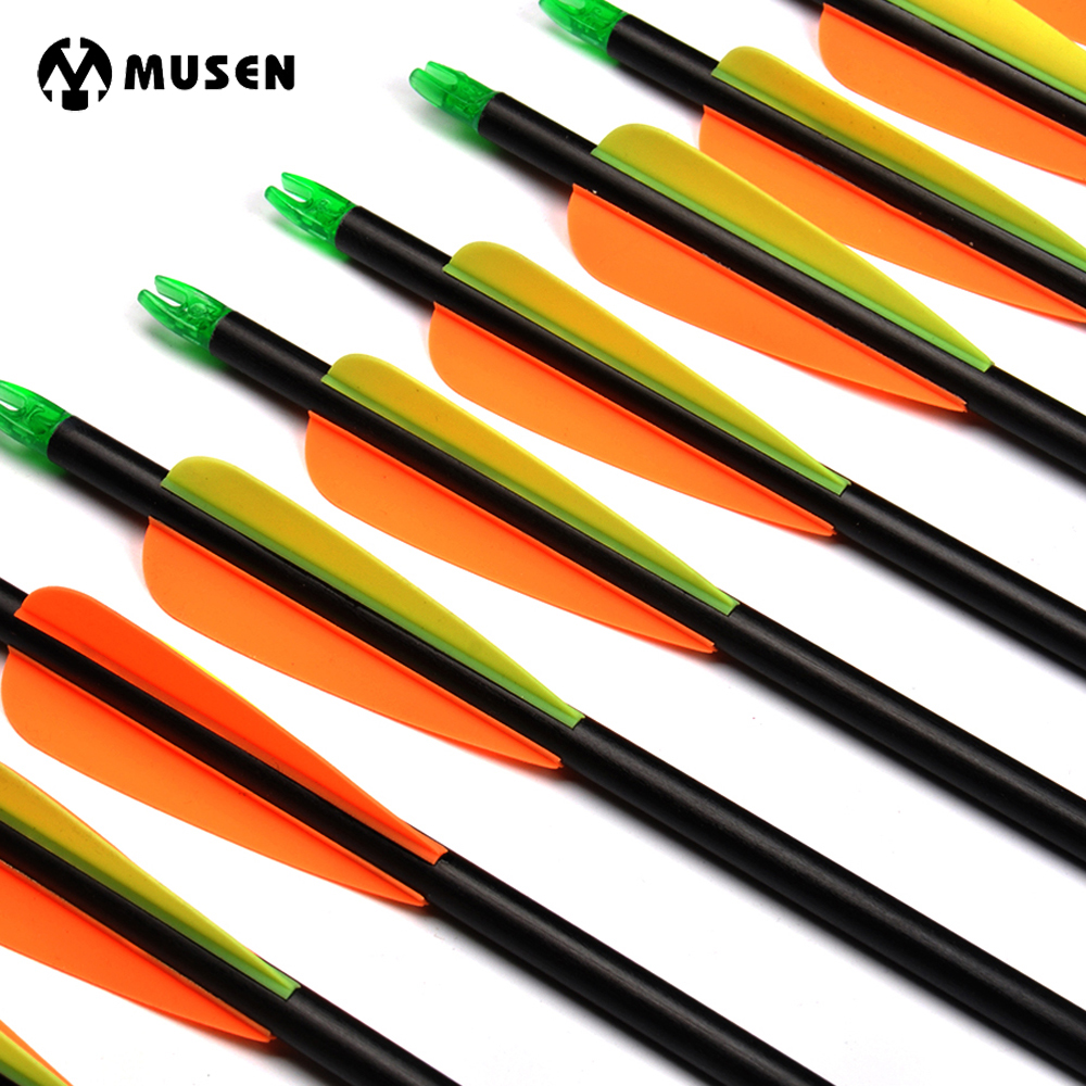 12/24pcs 82cm Spine 500 Fiberglass Arrows with Steel Point Fit 30-80LBS Bows for Compound Hunting Shooting Target Practice