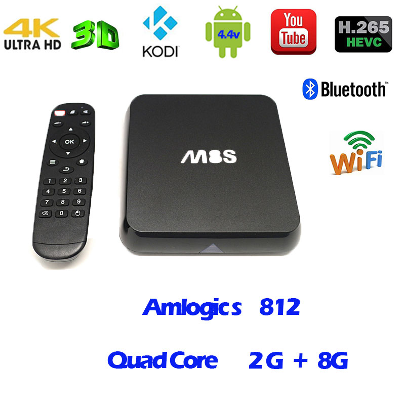 TV Box  Bluetooth  Android 4.4  M8S  Amlogic S812 Quad Core  2G+8G KODI XBMC DLNA Miracast Airplay Smart Set-top Box quad core koid xbmc android tv box amlogic s812 2g 16g 2 4g 5g dual mali450 gpu 4k hdmi bluetooth dolby true hd midia player