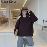 Alien Kitty Stylish Sweater Thick Pullover Knitted Lazy Style Fresh Bare Shoulder Winter All Match Casual Female Simple Sweaters