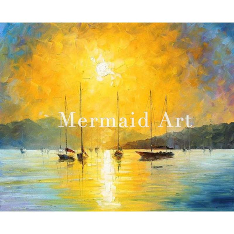 Hand Painted Landscape Abstract Baja California Seascape Palette font b Knife b font Modern Oil Painting