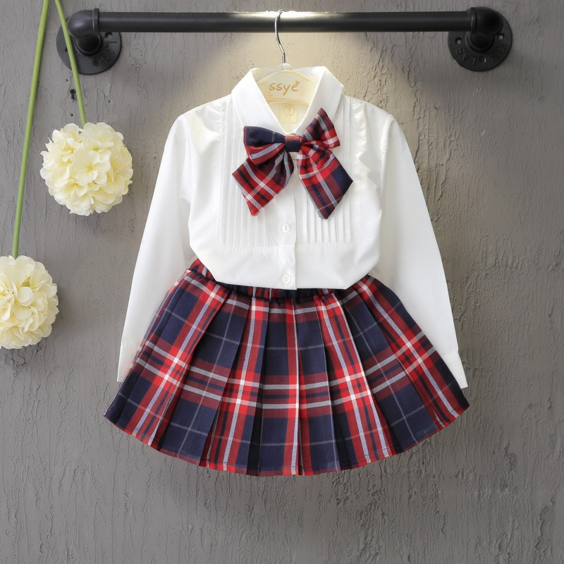 Preppy Chic Autumn Children Kids Girls Long Sleeve Bow Shirt Blouse Tops+Plaided Skirts Princess 2pcs Clothing Sets Suits S4180 girl children floral blouse shirt spring autumn long sleeve doll collar girls thin chiffon blouses tops for teen 13 14 15y fb300