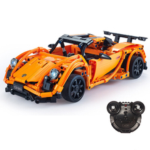 RC Blocks Car technic race orange car building blocks  educational bricks model christmas gift