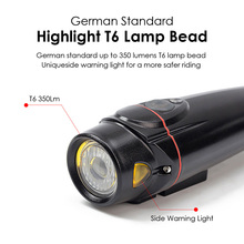 MICCGIN German Standard Light Sensitive Bicycle Headlight Auto On T6 360Lm Side Warning Bike Front Light Cycling Accessory