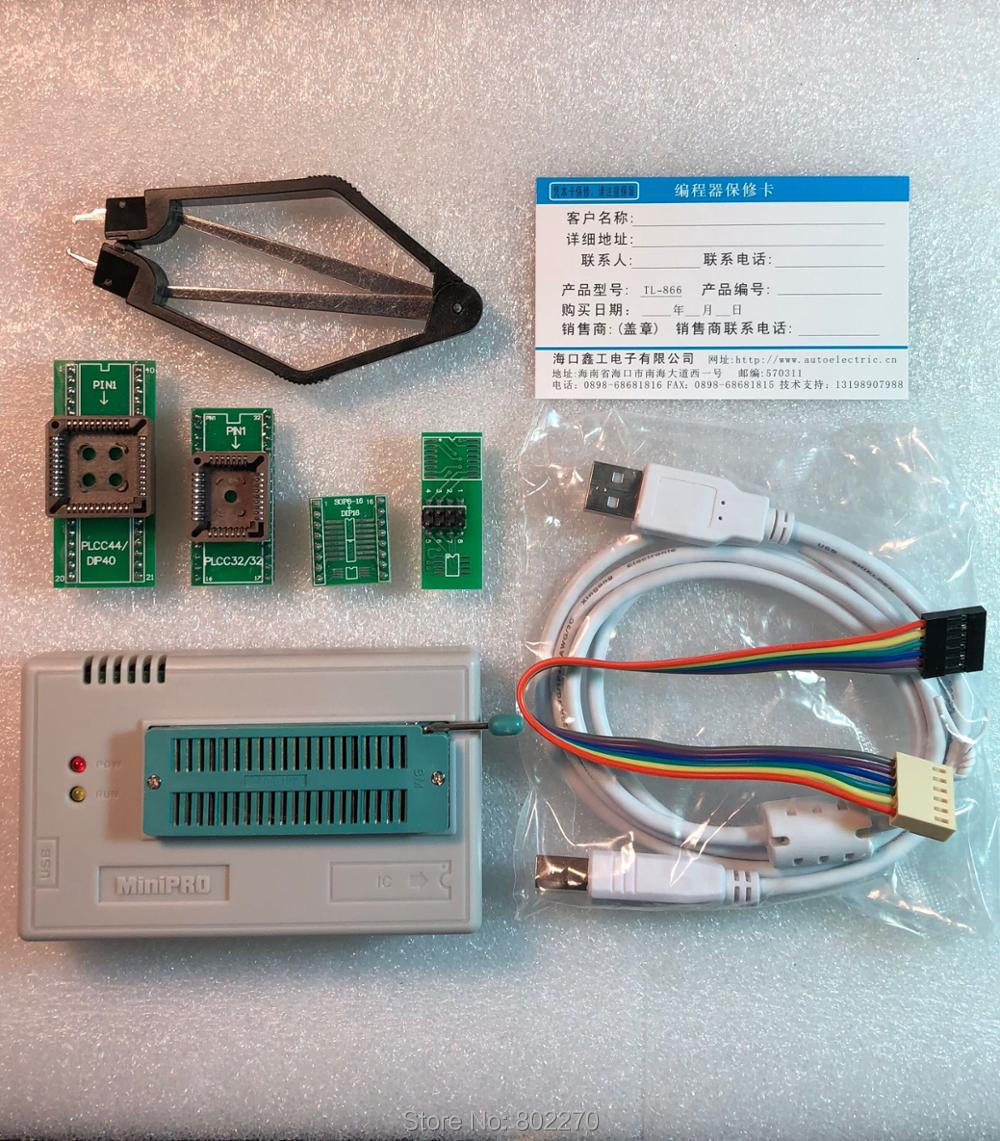 V7.05 XGecu TL866II Plus USB Programmer support 15000+IC SPI Flash NAND EEPROM MCU PIC AVR replace TL866A TL866CS+ 4PCS ADAPTER