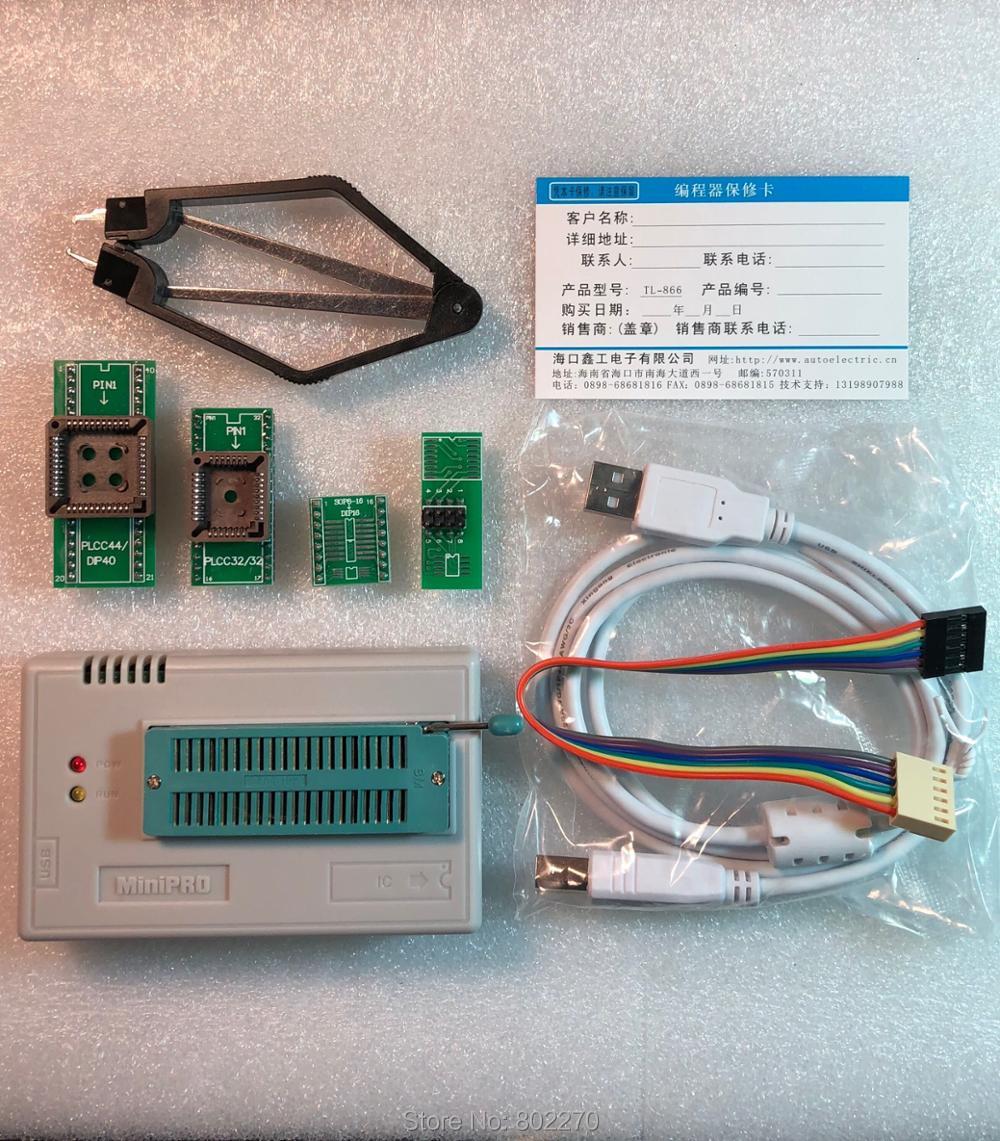 V8.3 XGecu TL866II Plus Programmateur USB soutien 15000 + IC SPI Flash NAND EEPROM MCU PIC AVR remplacer TL866A TL866CS + 4 pièces ADAPTATEUR