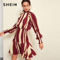 SHEIN Multicolor Elegant Office Lady Mock Neck Bishop Sleeve Striped Ruched Minimalist Dress Autumn Women Streetwear Dresses
