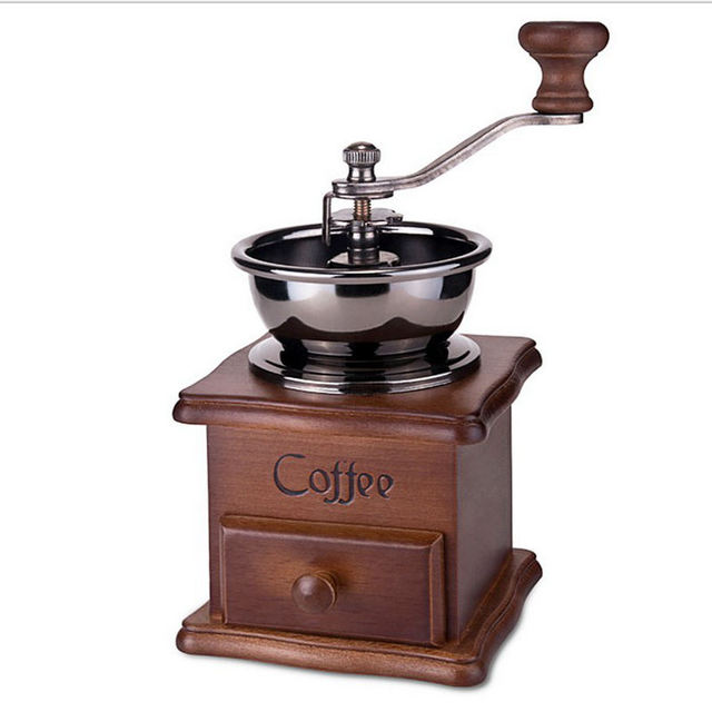 Urijk Mini Washabtle Wooden Coffee Bean Soybean Spice Vintage Style Manual Coffee Maker Grinder Hand Crank Grind