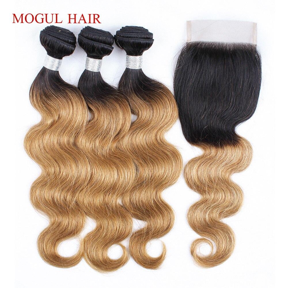 MOGUL HAIR T 1B 27 Ombre Honey Blonde Bundles con cierre Peruvian - Productos de belleza