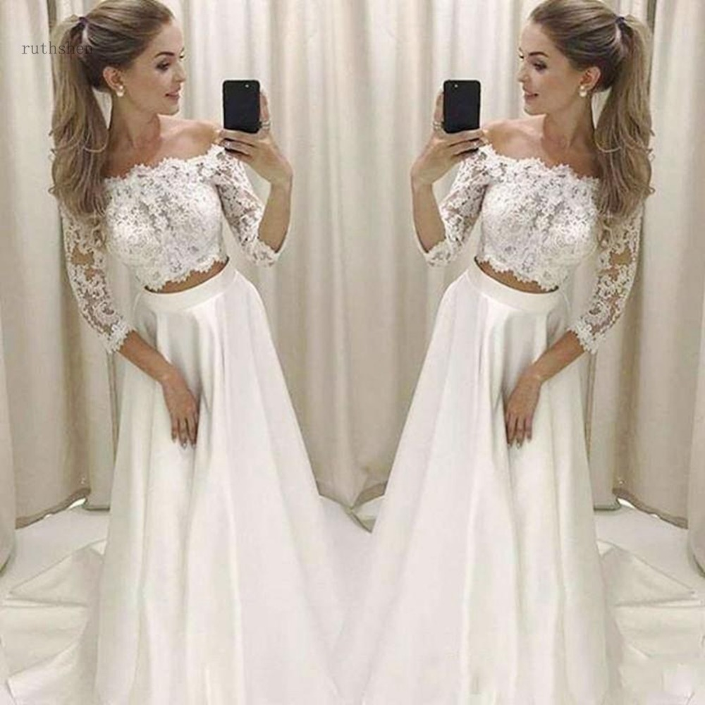 Two Piece Wedding Dresses With 3/4 Long Sleeve Off The Shoulder Beach Wedding Dress A Line Lace Jacket Satin Skirt Bridal Gown
