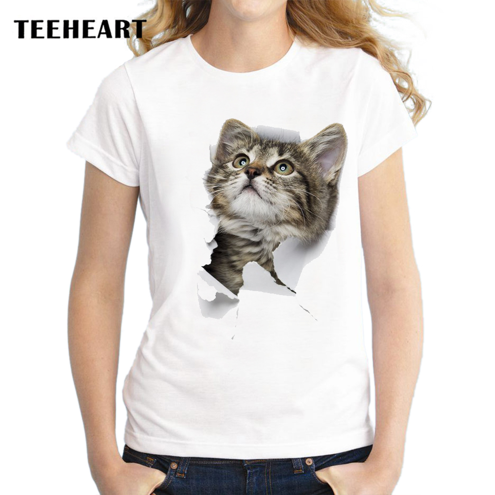 Teeheart 3d cute cat t shirts women summer tops tees for Animal tee shirts online