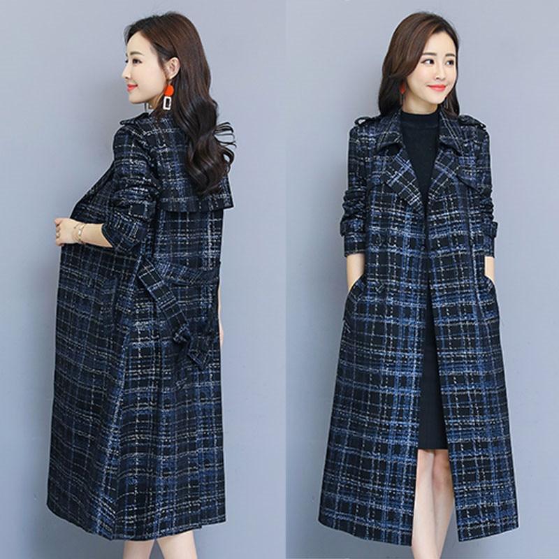 Spring Autumn Women's Windbreaker Coat Female Long section Korean 2019 New Fashion Plaid   Trench   Coat X350