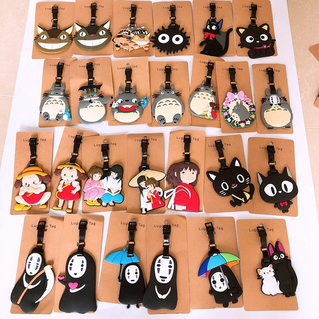 My Neighbor Totoro cartoon PVC keychain Spirited Away No Face cute soft rubber luggage tag boarding pass bag tags hanging gifts