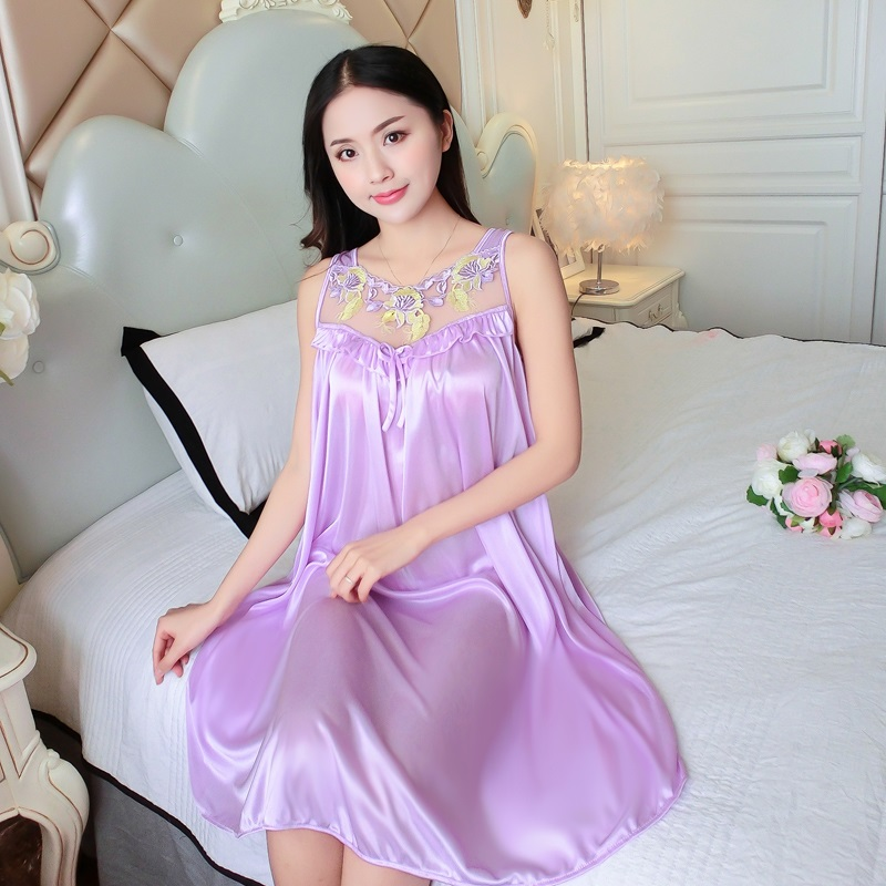 Lace Sleep Lounge Sexy V-Neck   Nightgowns   &   Sleepshirts   European Satin Sleepwear Silk Night Dress Vintage Indoor Clothing Summer
