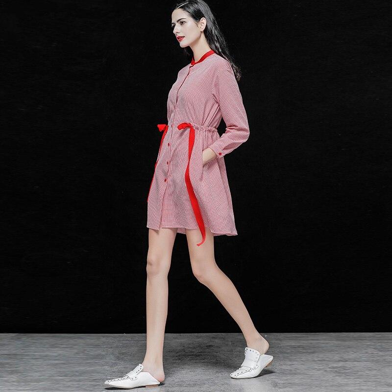 Printemps Rose Ville Mini Rétro S Robes Rockabilly Style Wrap Ab232 60 50 Élégant Soirée De Imprimer Plaid Robe Femmes Vintage AwfFYqpF