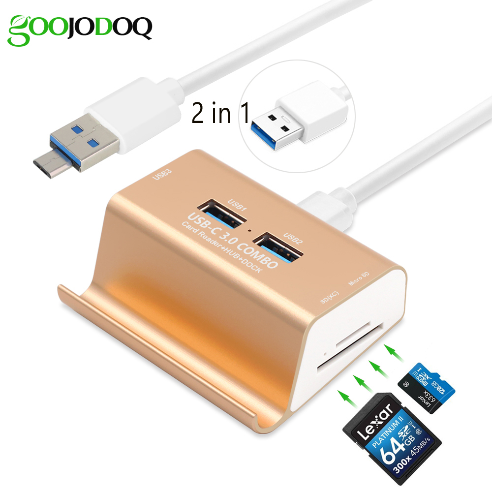 2 in 1 3 Ports USB 3.0 Hub Micro USB OTG Hub Multi Splitter with SD TF Card Reader +1 M Cable for Macbook PC Laptop Phone Holder multi in 1 micro usb otg 2 0 hub sd hc tf card reader mobile phone stand champagne