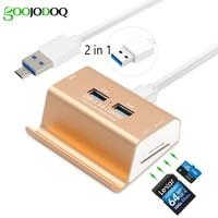 2 In 1Micro USB OTG Hub 4 Ports USB 3 0 Hub SD TF Card Reader
