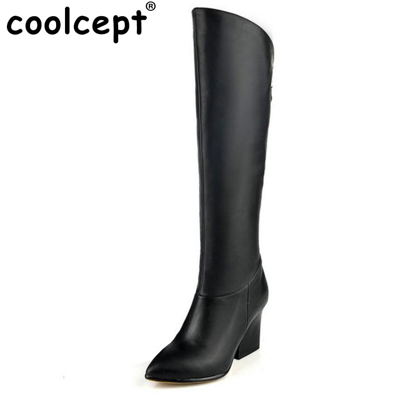 Coolcept women real leather high heel over knee boots sexy long boot winter warm botas militares footwear shoes R7494 size 33-40 size 30 45 women real genuine leather flat over knee boots long boot warm winter botas mujer brand footwear heels shoes r7761