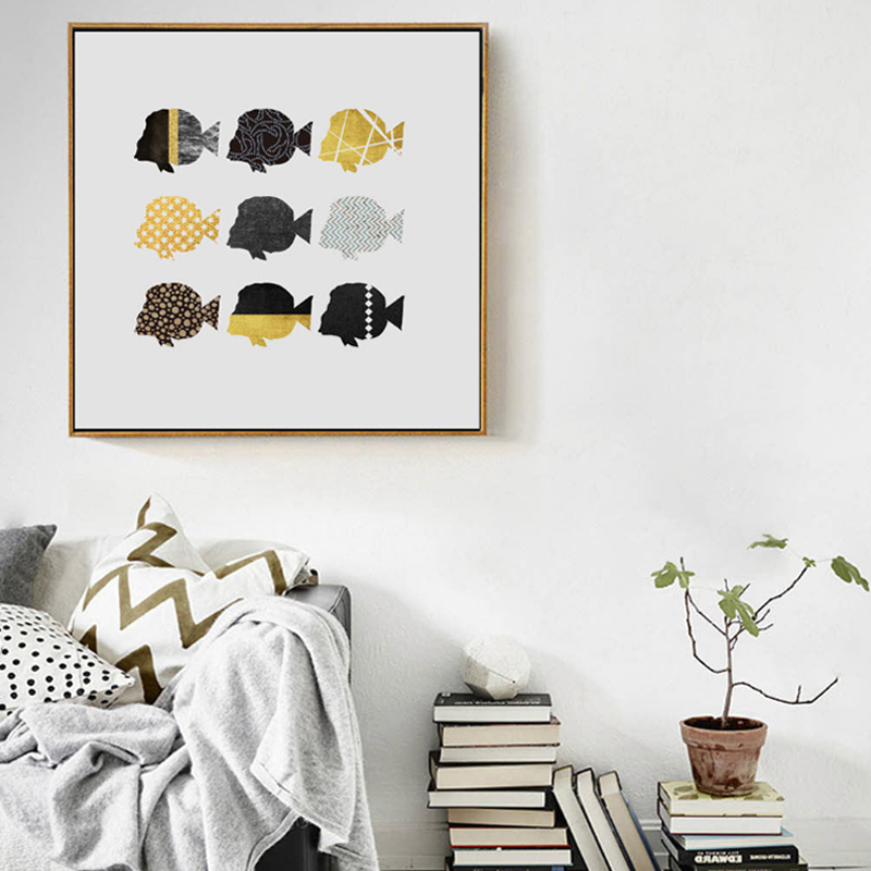 Colorful Fish Canvas Poster Nordic Abstract Minimalist Art Print Home Wall Decor