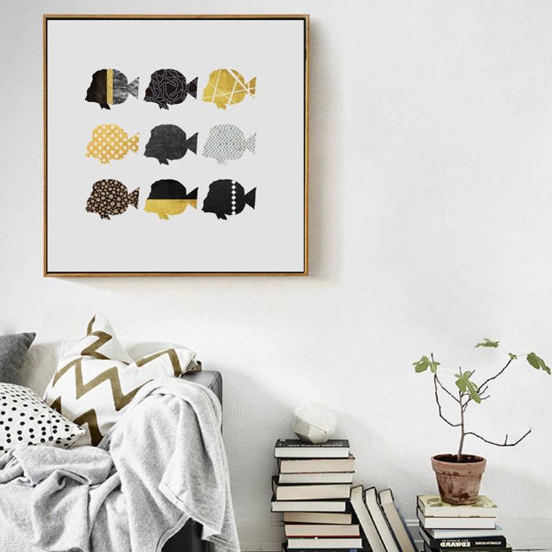 Abstrat Mulit-farger Fiske Lerretsmaling Minimalistiske nordiske - Hjemmedekorasjon