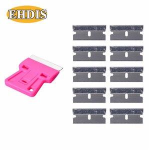 Image 2 - EHDIS – grattoir de rasoir + 10 pièces, lame de rasoir, outils de teinte de fenêtre, raclette de voiture en vinyle, dissolvant de colle autocollant de style de voiture