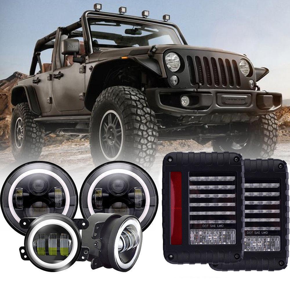 For Jeep Wrangler JK 2007-17 Halo LED Headlight LED DRL Fog Light Combo Kit
