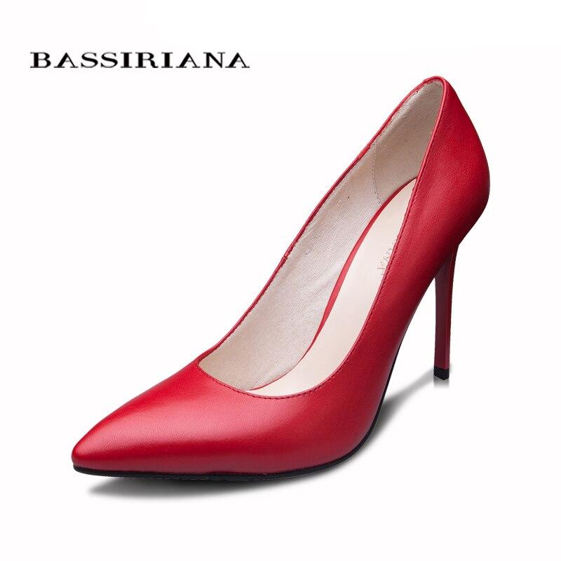 BASSIRIANA 2016 новая модель туфли для женщин Натуральная кожа 35-40 обувь на каблуках женская Классический туфли лодочка бесплатная доставка