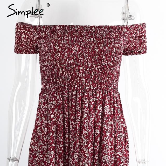 Simplee Apparel sexy side split off shoulder print summer dress High waist pleated maxi dress women Vintage beach dress vestidos