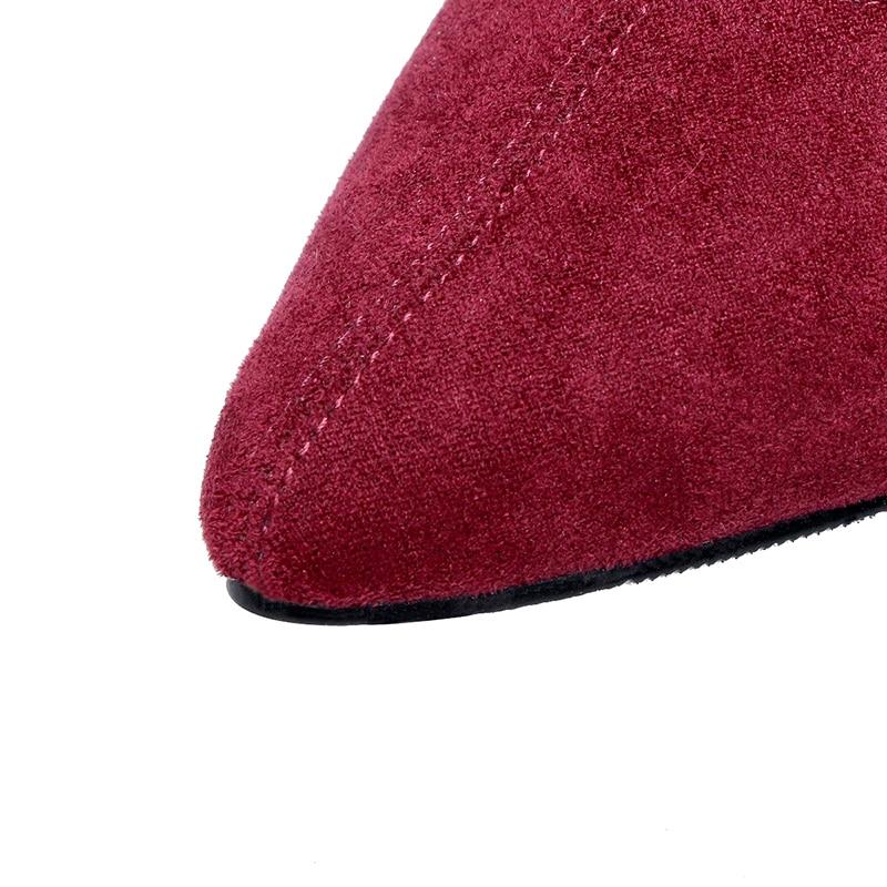 Bout Mince Femmes Rouge Gray Le Tirette Chaussures Pointu Daim light En Genou Haute Bottes De Sur Sexy vin Vin Kcenid Cuir Noir Talons D'hiver Mode Fxnzq6A4H4