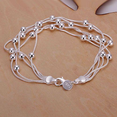 H234 925 pulsera de plata, joyería de moda de plata 925 Five Line Gloss Ball Bracelet / aztajraa awhajnoa