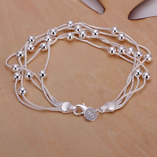 H234 925 zilveren armband, 925 zilveren sieraden Vijf Lijn Gloss Bal Armband/aztajraa awhajnoa