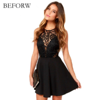 BEFORW Elegant Womens Mini Dress 2017 Summer Sexy Women Dress Vintage Black Floral Lace Dress Wedding