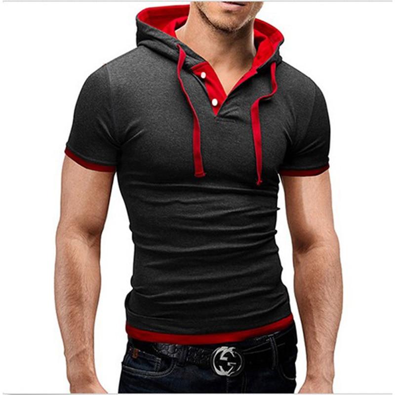 2017 Summer Fashion Hooded Sling Short-Sleeved Tees Male T-Shirt Slim Male Tops 4XL