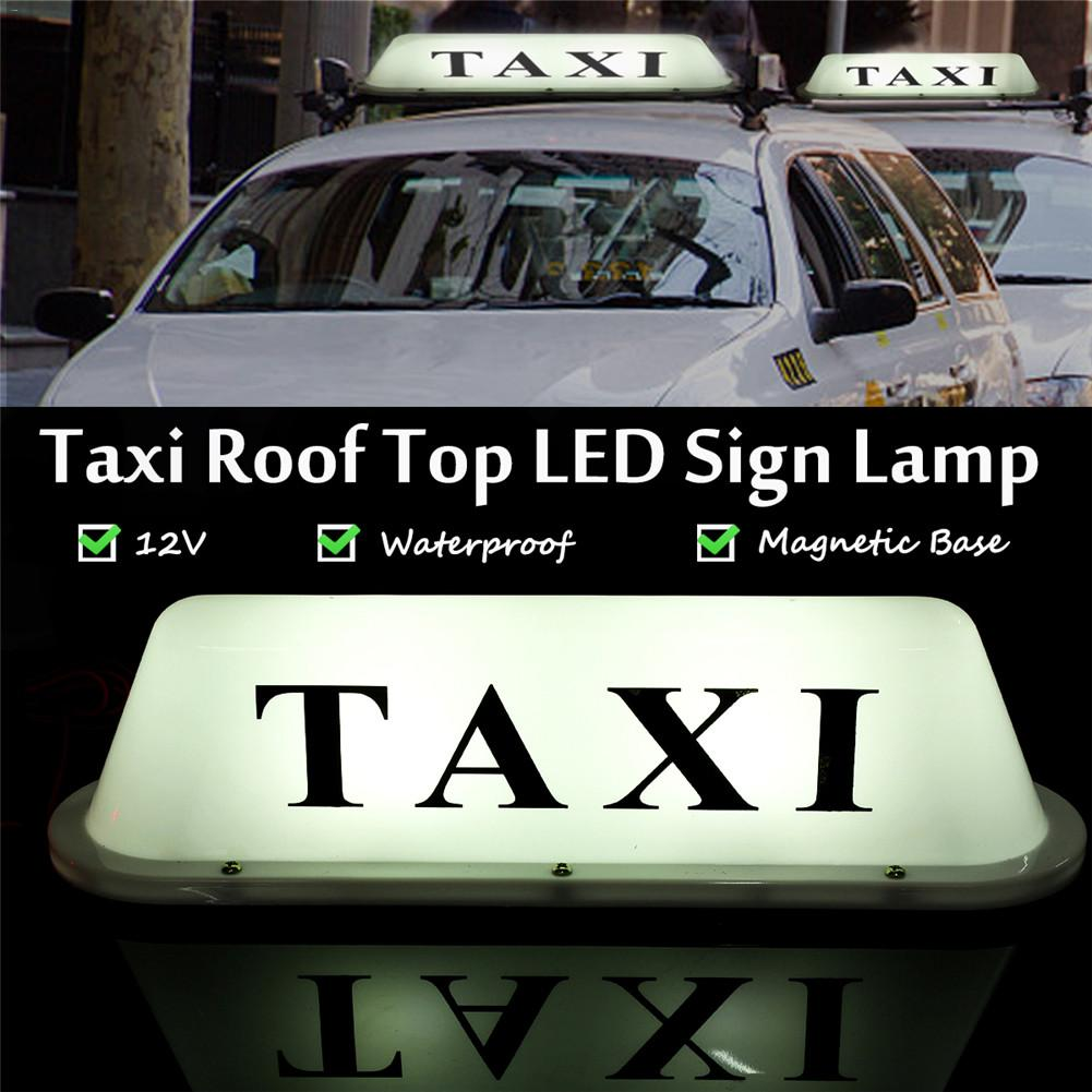 Waterproof Sun-proof Anti-dust Taxi Magnetic Base Roof Top Cab LED Sign Light With Cigarette Lighter 12V White