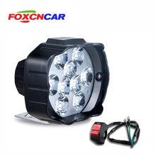 Светодиодный головной светильник для мотоцикла, скутера ATV 12 В 6500 К, противотуманный Точечный светильник светодиодный мотоциклетный мото рабочий Точечный светильник с переключателем DRL для автомобильных фар