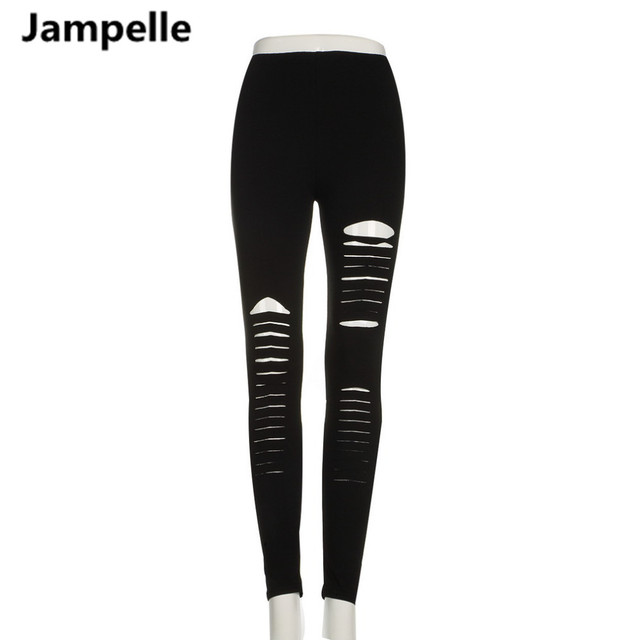 3e5adc5903751d Women Basic Strech Black Leggings Holes Ripped Leggings Punk Rock Fashion  Leggins Casual Jeggings Dancing Pant Party Gothic Pant
