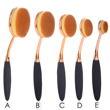 Pro Face Oval Makeup Brush Foundation BB Cream Flawless Base Powder Puff Blusher Cosmetic Beauty Toothbrush Shaped Curve Brushes