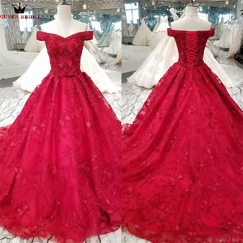 Ball Gown Cap Sleeve Lace Beaded Pearls Formal Red Luxury Evening Dresses Real Evening Gowns 2018 New Vestido De Festa KC21-2