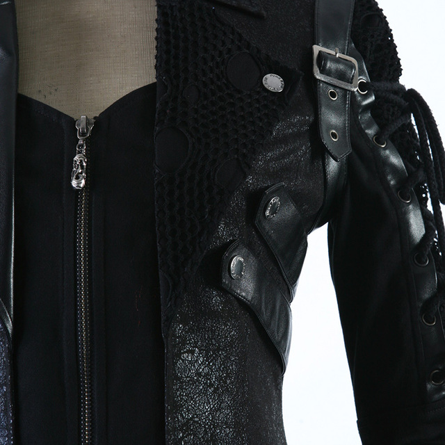 Punk Winter Man Long Sleeve Poison Jacket Goth Gothic Rock Black Leather Military Jacket Long Sleeves Coat Plus Size 4XL 2016