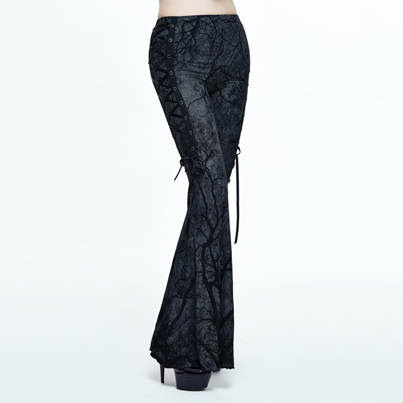 Devil Fashion Gothic Branches Printing Trousers For Women Steampunk Black Stretch High Waist Flare Pants