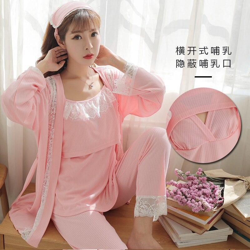 8820# Sexy Maternity Nursing Pajamas Cotton Breastfeeding Sleepwear Clothes For Pregnant Women Spring Autumn Pregnancy Nightwear