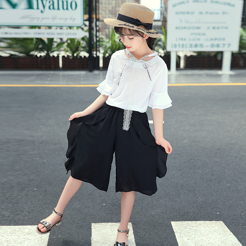 2018 Girls Clothes Kids Summer Fashion Clothes Set Toddler Shirt Print Pants 2pcs New Outfits Suits Childrens Girl Clothing Sets fashion autumn girl clothing sets denim outfits girls clothes sets jeans jackets shirt patchwork dress 2pcs suits with necklace
