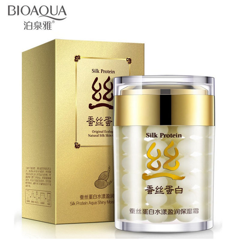 60g Brand BIOAQUA Silk Protein Deep Moisturizing Face Cream Shrink Pores Skin Care Anti Wrinkle Cream Face Care Whitening Cream free ship ms whitening skin beauty skin care cosmetic sets anti wrinkle whitening moisturizing shrink pores face care cream