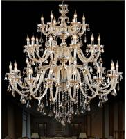 Morden 3 Layers 28 Arms Large Cognac Crystal Chandelier Stair Long Crystal Chandelier Lighting Restaurant Hotel Hall Villa Lamps