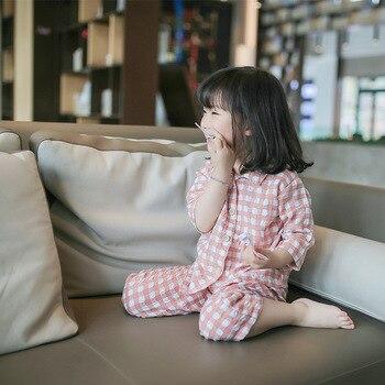ZBAIYH Baby Pijama Infantil Suit Nightwear Cotton and Linen Lattice Girl Night Clothing Set Boy Sleepwear Shirt Pant 2 Pcs