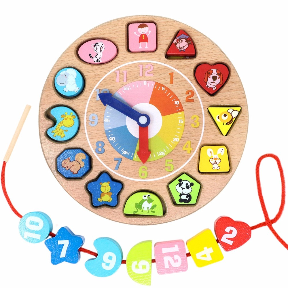 Wooden Educational Toys Number Animal Shapes Sorting Teaching Clock Lacing Beads Games J ...