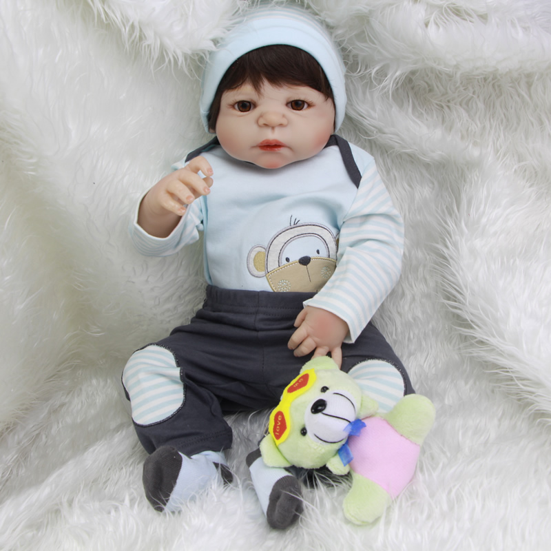New Hot Sale Lifelike Reborn Baby Doll Full Silicone New Baby Toys Monkey Pattern coat boy Gift Silicon Reborn Dolls Babies free shipping hot sale real silicon baby dolls 55cm 22inch npk brand lifelike lovely reborn dolls babies toys for children gift