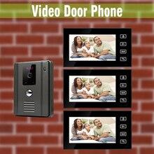 7 Inch Video Door Phone Intercom Doorbell Doorphone System video interphone visual intercom Kit night vision Camera 3-monitor