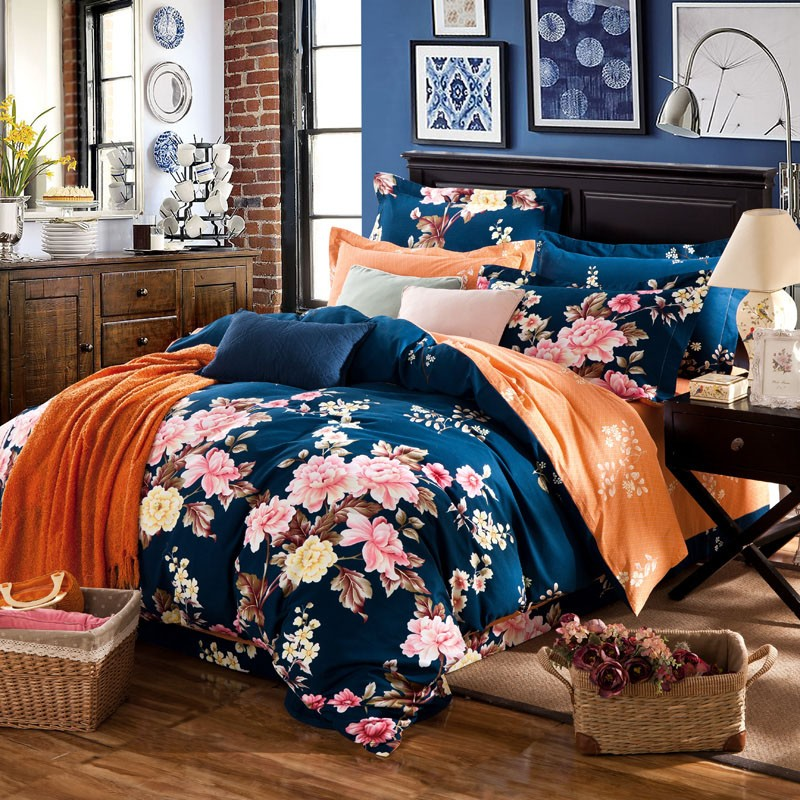 Fashion 4pcs floral country boho bedding princess pink duvets and bedding sets bedding-set cute bowknot bed linen,fast shipping