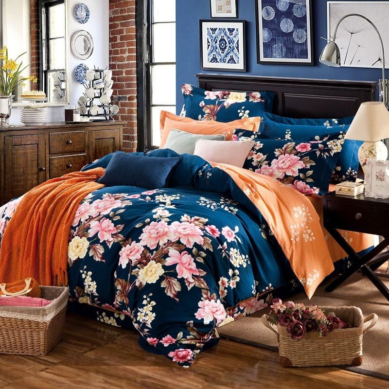 Mode 4 pièces floral pays boho literie princesse rose couettes et ensembles de literie literie-ensemble mignon bowknot linge de lit, livraison rapide