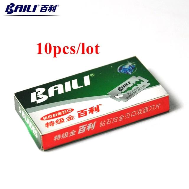BAILI 10pcs Safety Shaving Razor Shaver Blades Super Sharp Platinum Stainless Steel Double Edge for Men Beard Care BP001B